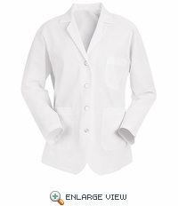KP11WH  Women's White  Lapel Counter Coat  4 Buttons