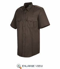 HS1245 Men's Brown Sentry® Plus Short Sleeve Shirt With Zipper