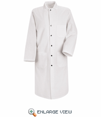 KS58WH White Snap Front Spun Polyester Butcher Coat