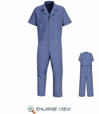 CP40MB Big & Tall Medium Blue Short Sleeve Poplin Jumpsuit