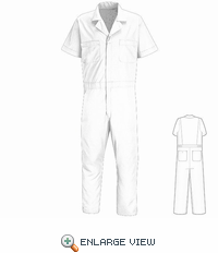 CP40WH Big & Tall White Short Sleeve Poplin Jumpsuit