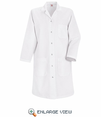 KP15WH  Women's White Red Kap Lab Coat Gripper Front