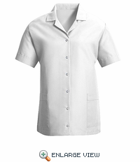 TP27WH Women's White Short Sleeve Smock Gripper Front