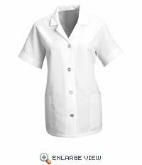 TP23WH Women's White Short Sleeve Smock