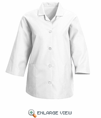 TP31WH Women's White Loose 3/4  Sleeve Smock