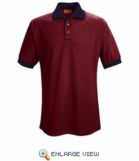 SK16BN Short Sleeve Burgandy/Navy Performance Knit® Contrast Trim - Without Pocket - Discontinued