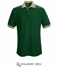 SK16HT Short Sleeve Hunter Green/Tan Performance Knit® Contrast Trim - Without Pocket - Discontinued