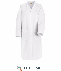 KS64WH Spun Polly White Gripper Front Butcher Coat