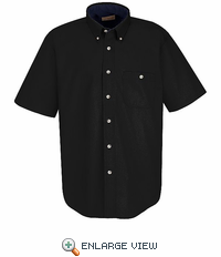 SC64BK Short Sleeve Black/Stone Cotton Twill Casual Contrast Shirt