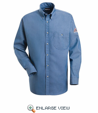 SEG2LD Excel-FR 7oz. Button Front Light Denim Dress Uniform Shirt