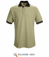 SK16TB Short Sleeve Tan/Black Performance Knit® Contrast Trim - Without Pocket - Discontinued