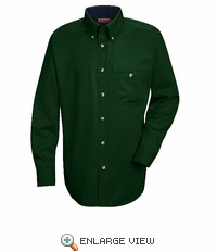 SC74HG Long Sleeve Hunter Green/Navy Cotton Twill Casual Contrast Shirt