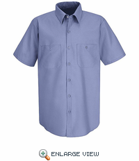 SS24MB Short Sleeve Medium Blue Performance Polyster Industrial Work Shirt - Discontinued