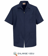 KP44NV Men's Navy Zippered Smock