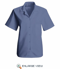 SP65MB Women's Petrol Blue Short Sleeve Uniform Blouse