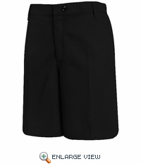 PT27BK Women's Black Plain Front Shorts