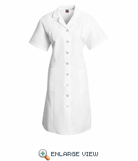 DP23WH Women's White Button Front Dress