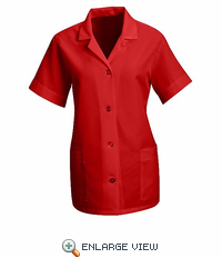 TP23RD Women's Red Short Sleeve Smock