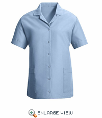 TP27LB Women's Light Blue Short Sleeve Smock Gripper Front
