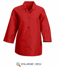 TP31RD Women's Red Loose 3/4  Sleeve Smock
