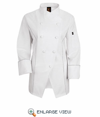 KE83WH Women's Saddle Stitched Egyptian Cotton Chef Coat - Discontinued