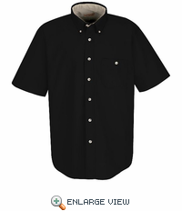 SC64BL Short Sleeve Black/Stone Cotton Twill Casual Contrast Shirt