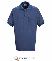 SK30BL Performance Knit Polyester Blue/Navy/White Metroplaid Polo Shirt