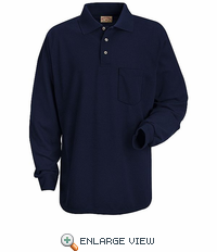 SK10NV Long Sleeve Navy Performance Knit 50/50 Blend Pique Shirt - Discontinued
