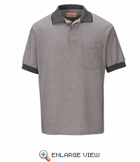 SK30GY Performance Knit Polyester Lt.Gray/Grau/White Metroplaid Polo Shirt