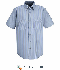 SL20WB Short Sleeve Mock Oxford  Industrial White & Blue Stripe Shirt