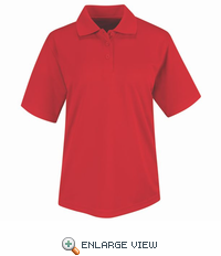 SK47RD Women's Red Short Sleeve 100% Polyesteer Mesh Polo