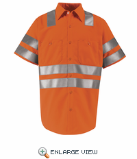 SS24OF  Hi-Visibility Short Sleeve Fluoresent Orange Work Shirt Class3 Level 2