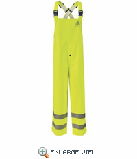 BXN4YE Hi-Visibility Flame Resistant Yellow/Green Rain Bib Overall