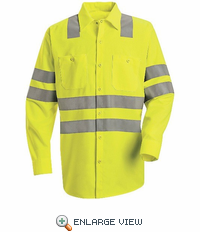SS14AB  Hi-Visibility Long Sleeve Fluorescent Yellow/Green Work Shirt Class3 Level 2