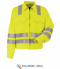 "JY32JF Fluorescent Yellow/Green Hi-Visibility Jacket - ANSI 107-2004 Class 3 Level 2 ""X"" Striping Configuration"
