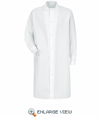 KS60WH Gripper-Front Spun Polyester Pocketless White Butcher Coat with Knit Cuffs