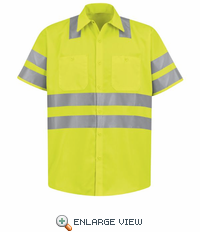 SS24SB Hi-Visibility Work Short Sleeve Fluorescent Yellow/Green Shirt