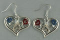 Heart with Scrolls and Crystals Earrings