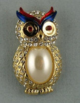 Patriotic Owl Pin
