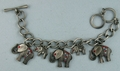 Pewter Toned Patriotic Elephant Bracelet
