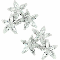 Sterling Silver Bridesmaid Prom Marquis Cut Clear Cz Earrings