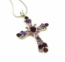 LAVENDER AMETHYST AUSTRIAN CRYSTAL CROSS NECKLACE