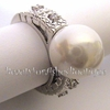 Pearl of Wisdom Clear Cz Elegant Bridesmaid Ring