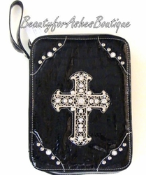 CROSS BIBLE COVER CASE BLACK RHINESTONE DECORATIVE
