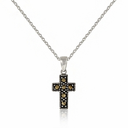 Sterling Silver Marcasite Miniature Cross Necklace