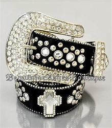 GENUINE LEATHER CROSS BELT RHINESTONE CRYSTAL STUDS L