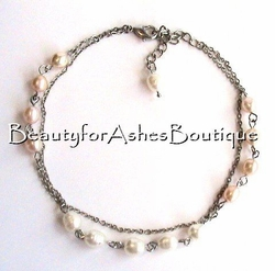 FRESH WATER PEARL DUO CHAIN ANKLET