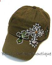 WOMENS' 100% COTTON OLIVE DECORATIVE CROSS CAP