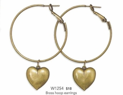 Antique Goldtone Rustic Heart Charm Hoop Earrings