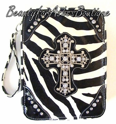 ZEBRA BLACK and WHITE RHINESTONE CROSS BIBLE COVER CASE